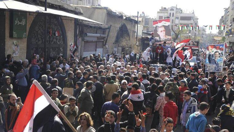 Demonstratie tegen Bashar al-Assad, vandaag in Damascus Beeld reuters