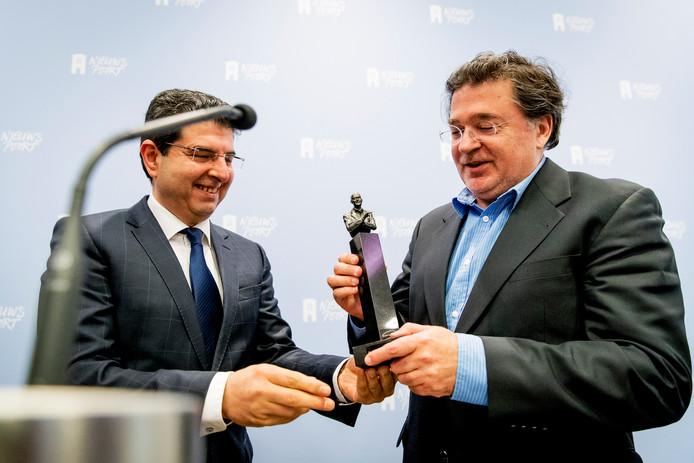 Winnaar Leon de Winter tijdens de uitreiking van de jaarlijkse Pim Fortuyn Prijs 2016.