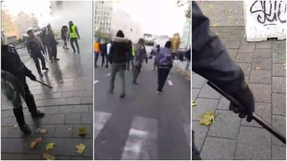 VIDEO: Politie zet waterkanon in nadat betoging uitmondt in rellen in Brussel