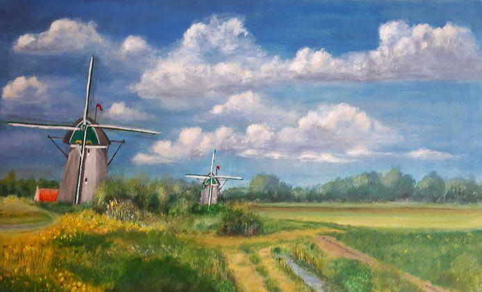 Een van de kunstwerken van dit project: een schilderij van de molens bij de Rotte.