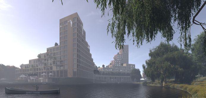 Een impressie van de nieuwbouw van hotel Van der Valk in Vught met op de voorgrond de Heunvijver.
