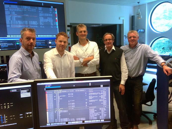 Het college van Tubbergen bij Enexis in Zwolle. Van links naar rechts: wethouder Tom Vleerbos, wethouder Roy de Witte, wethouder Erik Volmerink, burgemeester Mervyn Stegers en gemeentesecretaris Gerard Mensink.