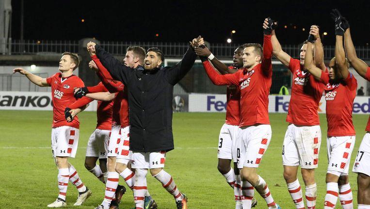 AZ-spelers vieren de overwinning Beeld anp