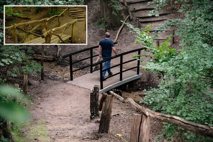 Het stalen bruggetje in het Kastanjedal, inzet: het houten bruggetje.