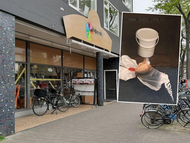 Kringloop Nieuw Geluk aan de Vechtstraat in Zwolle, waar de doos met het strottenhoofd voor de deur stond.