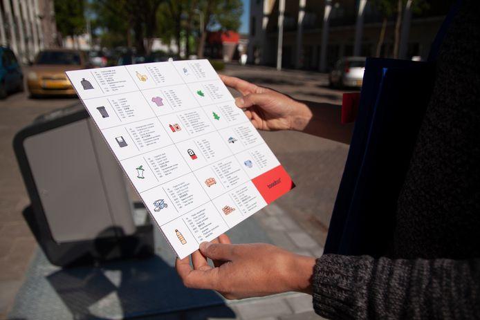 De pictogrammenkaart van Tante Netty die uitlegt hoe je op de juiste manier met je afval omgaat.