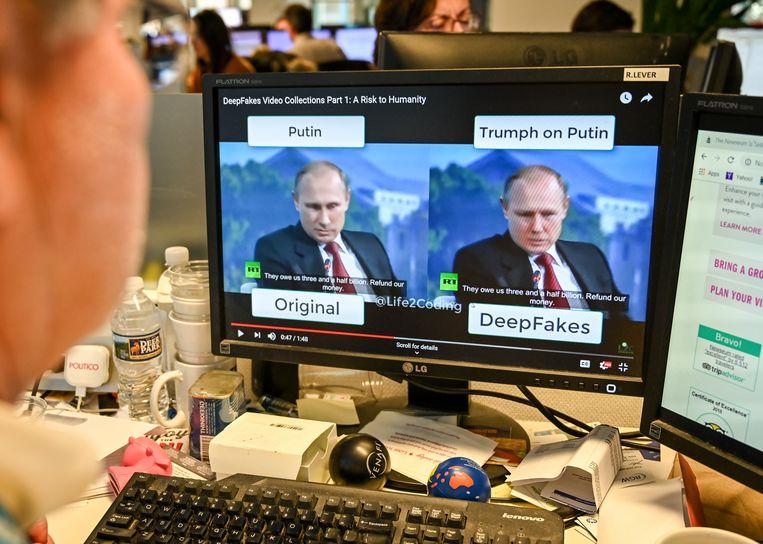 Deepfake, een geavanceerde vorm om nepnieuws te maken met AI-software. Beeld AFP