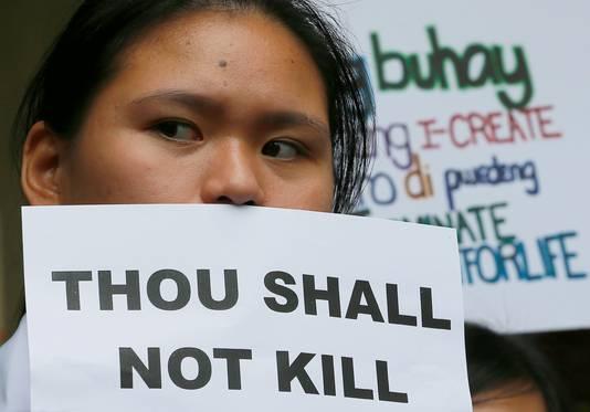 Inwoners protesteerden tegen de plannen van Duterte