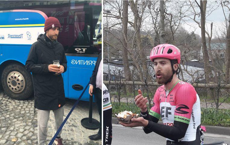 Phinney spoelde zijn pakje friet door met een glas Duvel na de Ronde van Vlaanderen van vorig jaar.