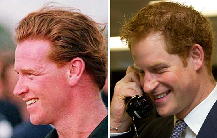 Archiefbeeld van James Hewitt (l) en een foto van prins Harry. Hewitt vertelde dat hij al voor de geboorte van prins Harry een affaire had met Diana.
