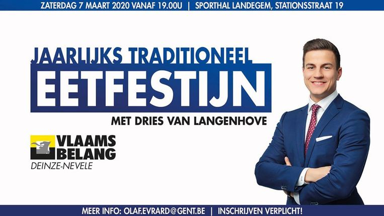 Dries Van Langenhove is te gast op het eetfestijn van Vlaams Belang Deinze.