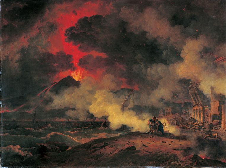 Pierre-Henri de Valenciennes, De uitbarsting van de Vesuvius en de dood van Plinius de Oudere (1813). Beeld Musée des Augustins, Toulouse