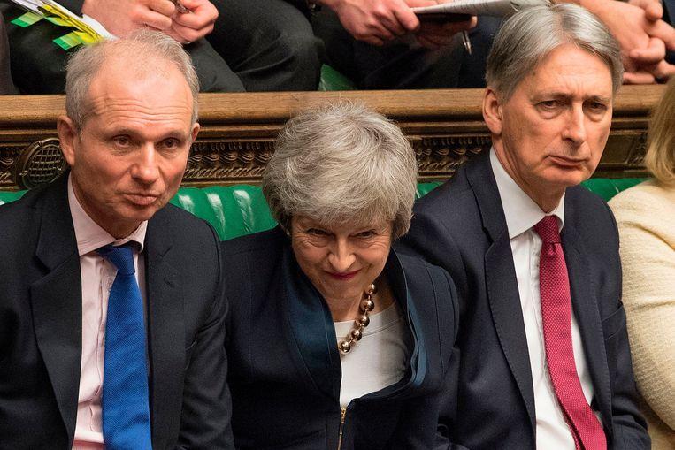 Theresay May in het Britse Lagerhuis op 3 april. Beeld AFP