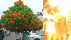 Ontploffing van heliumballonnen leidt tot gigantische vuurbal