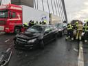 Ongeluk op A2 bij Zaltbommel met meerdere voertuigen.