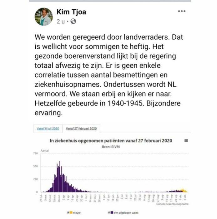 Kim Tjoa, nummer 2 op de kieslijst van WIJ! Oisterwijk, vergelijkt het coronabeleid met de Tweede Wereldoorlog.