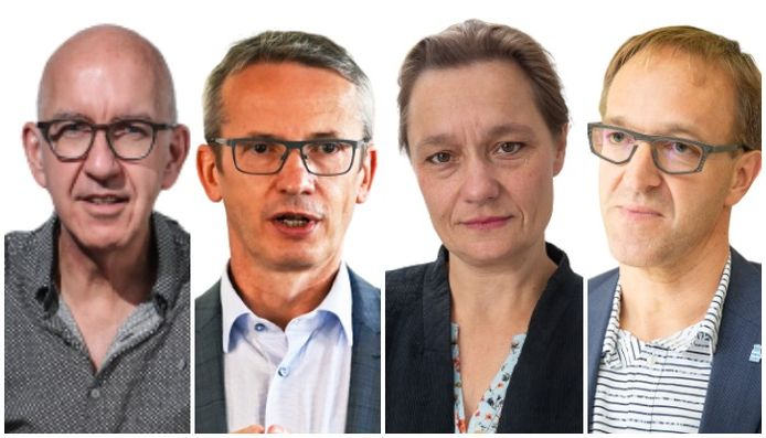 Vlnr: Geert Molenberghs (Universiteit Hasselt), Luc Sels (KU Leuven), Rik Van de Walle (Universiteit Gent) en Erika Vlieghe (Universiteit Antwerpen)