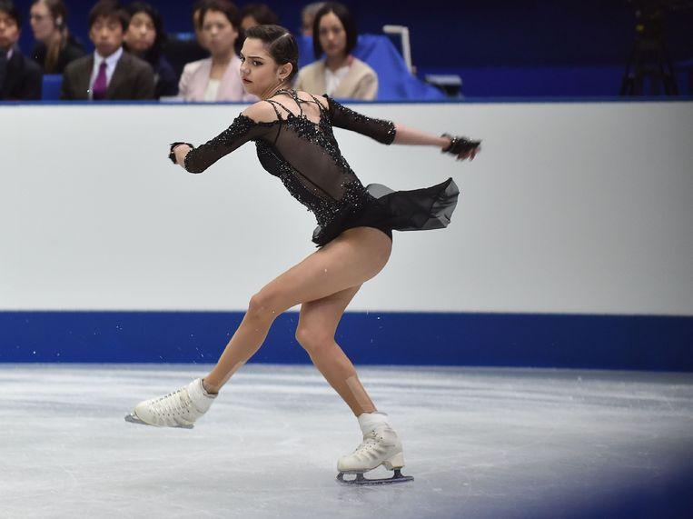 Kunstrijdster Evgenia Medvedeva, 18 jaar, moet vrezen voor deelname aan de Olympische Spelen. Ze is vandaag aanwezig bij de uitspraak van het IOC. Beeld AFP