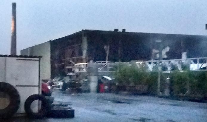 Schade aan het Faam-gebouw in Breda. Foto Palko Peeters