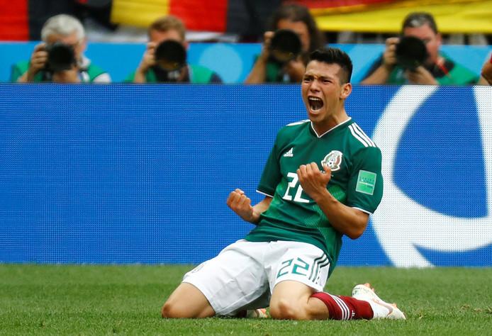 Hirving Lozano viert zijn winnende goal tegen Duitsland op het WK van afgelopen zomer.