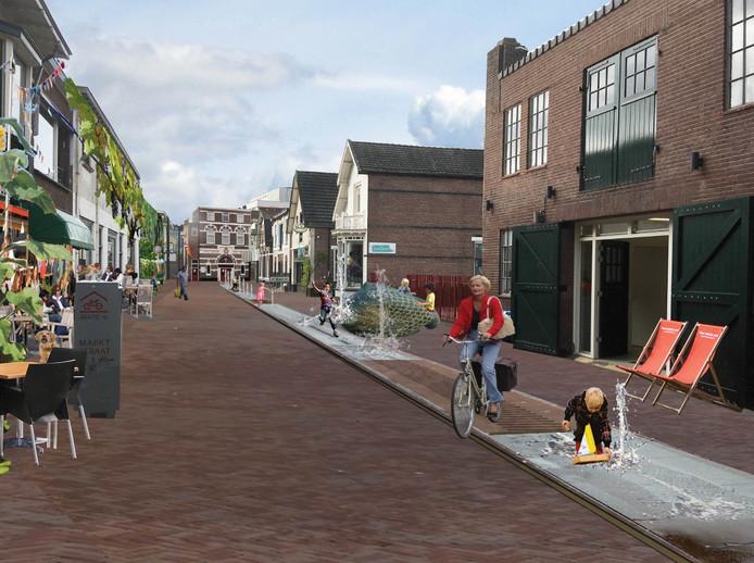 Geen auto's meer in de Marktstraat en water-speelelementen, zoals op dit voorlopige ontwerp; dat moet het Apeldoornse winkelstraatje alsnog 'booming' maken.