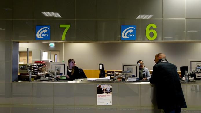 Foto ter illustratie: Werkzoekenden bij het Werkplein van het UWV in Amsterdam