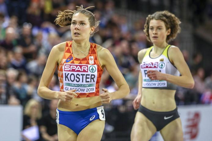 Maureen Koster bij het EK Indoor in Glasgow.
