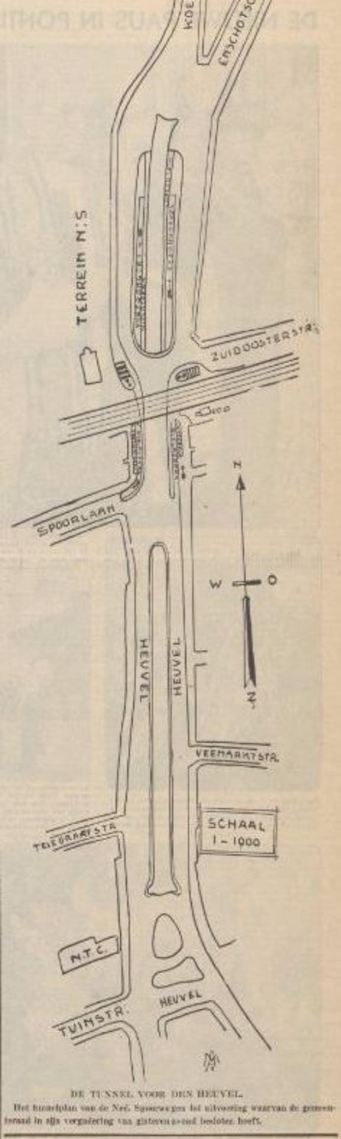 Schetsplan van tunnel in Nieuwe Tilburgsche Courant van 4 maart 1939.