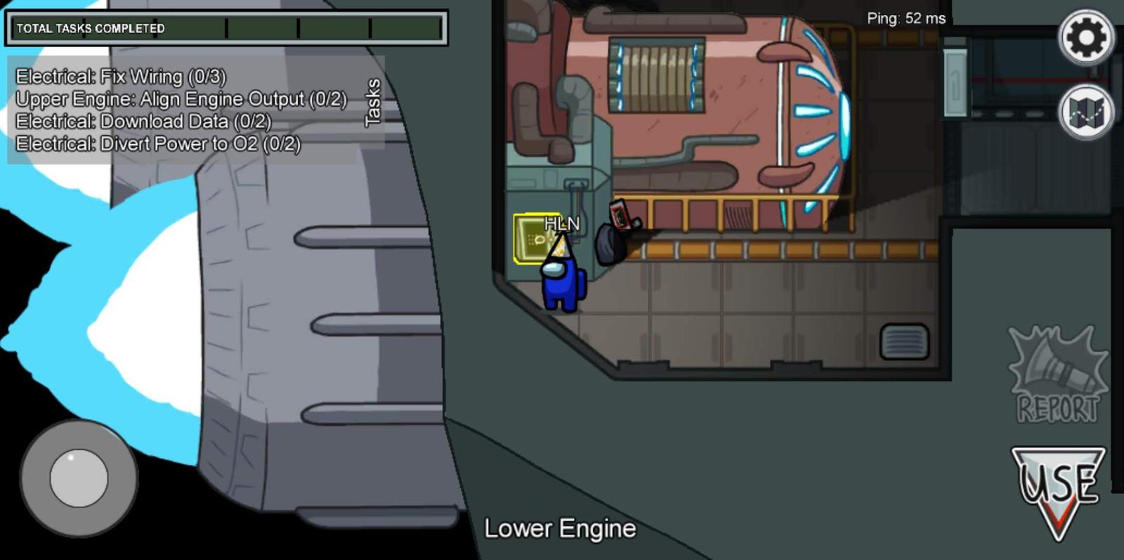 Het ruimteschip van Among Us, één van de mogelijke spelomgevingen.