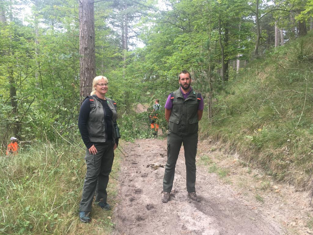 Boswachters Marijke Lieman en Roland Broos in de boswachterij. Op de achtergrond wordt gewerkt aan het weghalen van de prunus. Dat gebeurt met elektrische zagen om dieren en bezoekers zo min mogelijk te storen