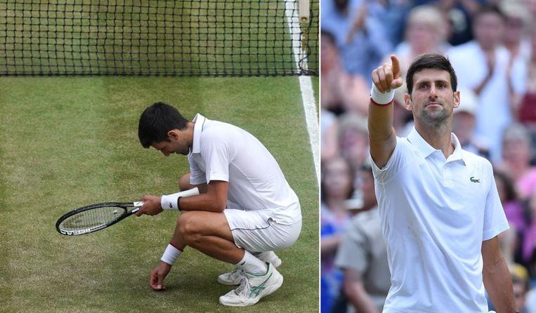 Djokovic at wat gras van Centre Court.