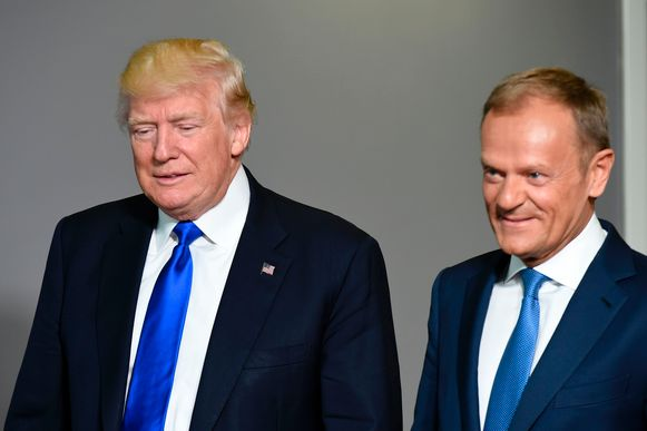 Amerikaans president Donald Trump en Europees president Donald Tusk.