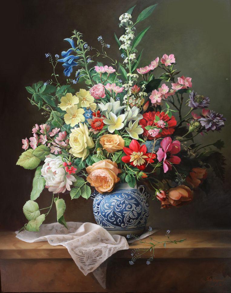 De bloemenschildering prijkt nu in het sultanaat van Oman te Masqat.