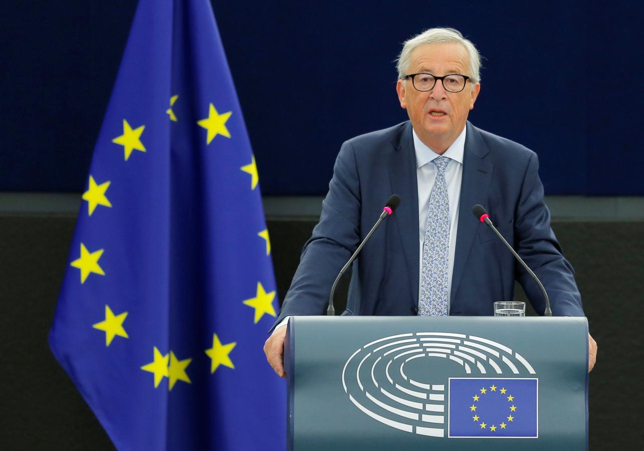 Jean-Claude Juncker tijdens zijn State of the Union van vandaag