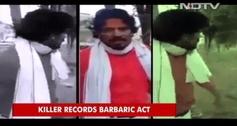 De inmiddels gearresteerde dader zette een tweede clip online, waarin hij verklaart zijn daad te hebben begaan om 'de eer van hindoes te beschermen tegen moslims'.  Beeld x
