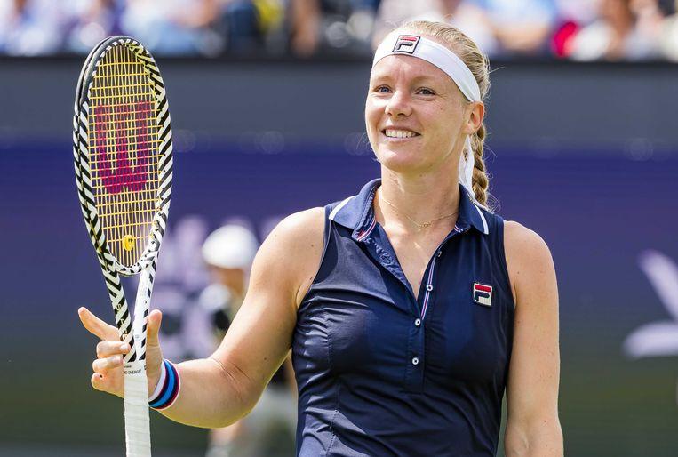 Kiki Bertens  tijdens haar partij tegen haar voormalige dubbelpartner, de Zweedse Johanna Larsson in de eerste ronde  van het grastoernooi van Rosmalen. Beeld ANP