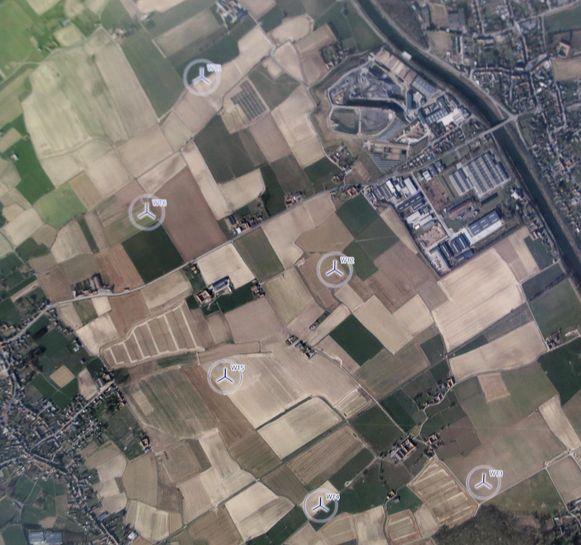 De 6 windturbines komen op de grens van Zwevegem, Avelgem en Spiere-Helkijn.
