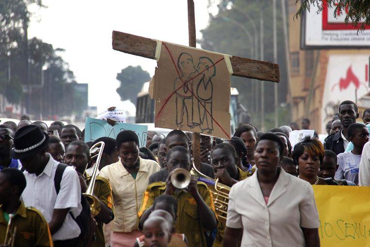 Een anti-homodemonstratie in Kampala, Oeganda. Beeld afp