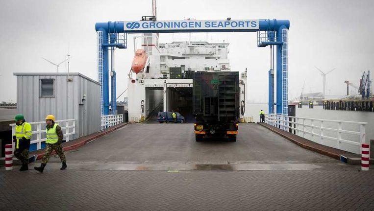 Eemshaven, waar eerder deze maand patriot-raketsystemen werden verscheept, bestemd voor Turkije. Beeld anp