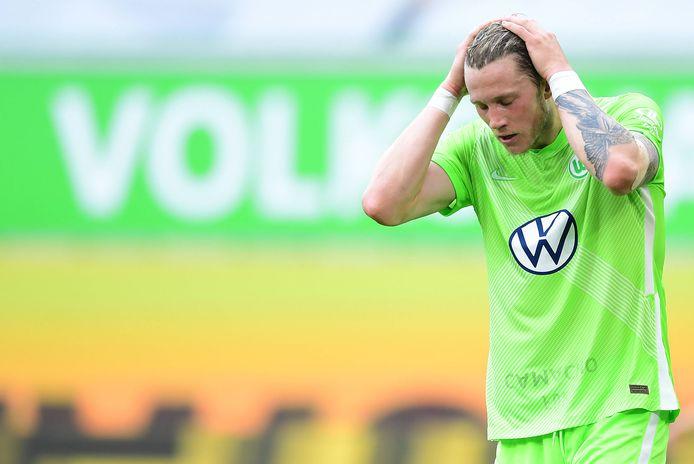 Wout Weghorst afgelopen zaterdag tegen Bayern München. Was dit zijn laatste wedstrijd voor Wolfsburg?