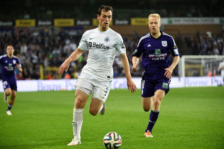 Tom De Sutter in het shirt van Club Brugge en Olivier Deschacht. (2014)