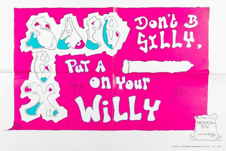 De poster voor het gebruik van condooms uit de jaren negentig is van de Rutgers Stichting, bureau voor geboorteregeling en seksualiteitsvragen. De Rutgers Stichting scheidde zich in 1969 af van de als activistisch overkomende Nederlandse Vereniging voor Seksuele Hervorming (NVSH) Beeld Bas Uterwijk