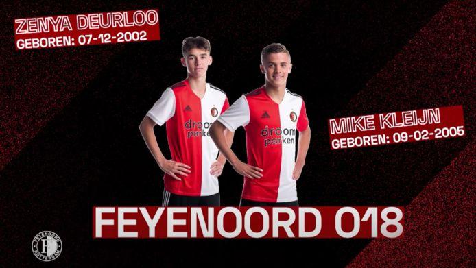 Zenya Deurloo en Mike Kleijn, Feyenoord O18, in de Academy Battle