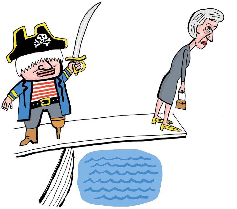 Theresa May houdt, onder druk van haar partij, de eer aan zichzelf. Beeld Bas van der Schot