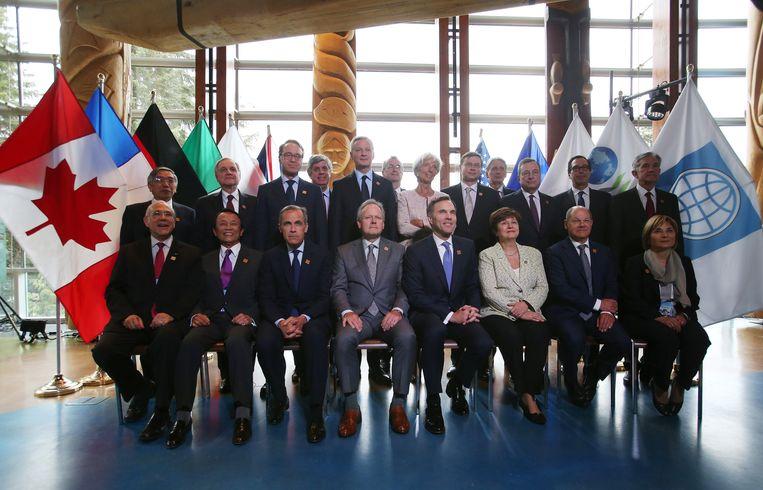 De ministers van Financiën van de zeven landen in Canada, 1 juni 2018. Beeld REUTERS