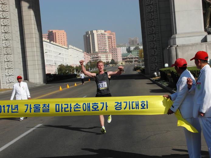Bert Ruitenbeek over de finish in Pyongyang.