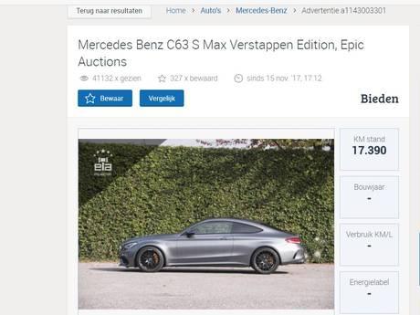 Eerste auto van Max Verstappen verkocht voor 136.000 euro