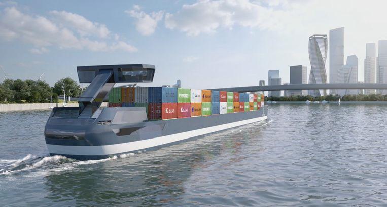 Een artist impression van het elektrisch aangedreven containerschip dat misschien volgend jaar al in de binnenvaart gebruikt wordt. Beeld Design Omega Architects