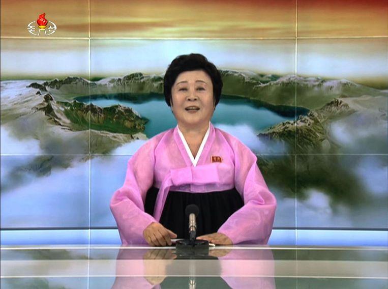 """Ri Chun-Hee heeft al meerdere keren het nieuws van een """"geslaagde"""" nucleaire test mogen brengen."""
