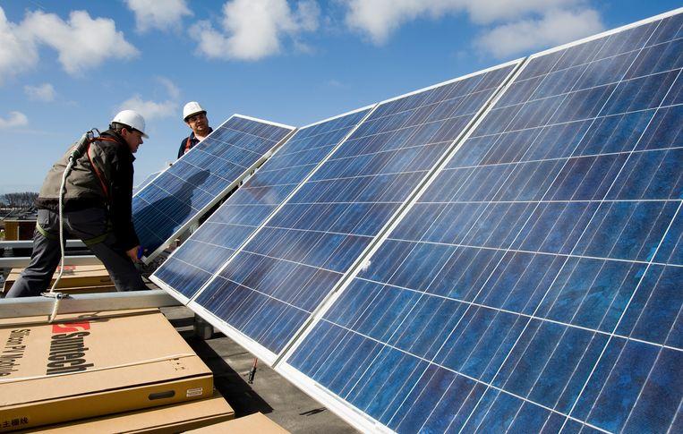 In een vinexwijk in Heerhugowaard zijn de huizen voorzien van zonnepanelen. Beeld null